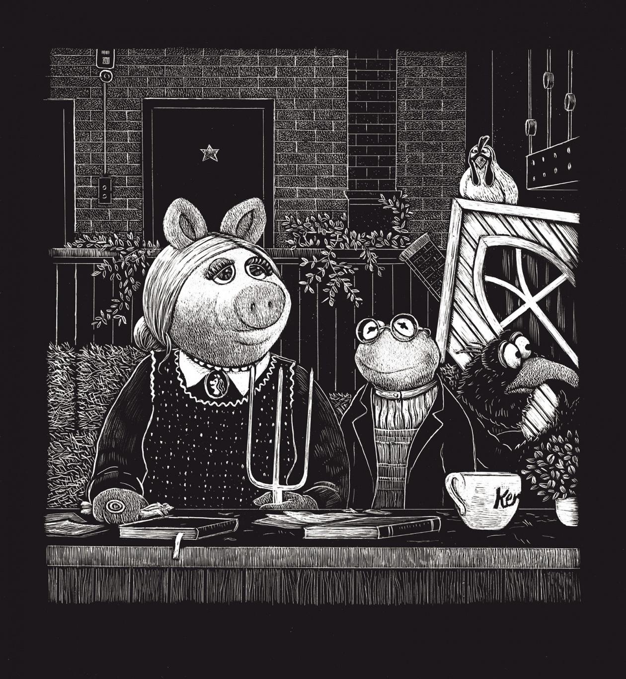 Illustration von Line Hoven zum Thema Paargespräche Miss Piggy und Kermit