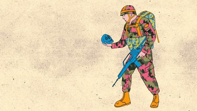Soldat hält Totenkopf