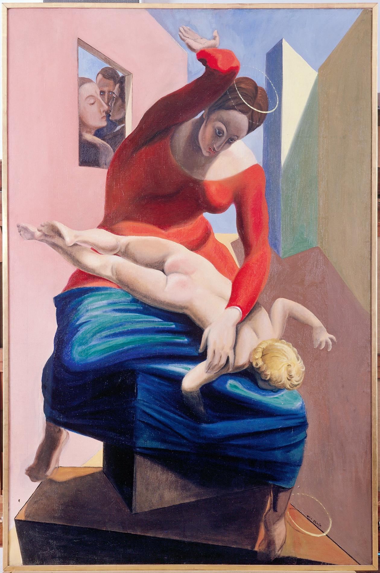 Kunstwerk - Die Jungfrau züchtigt das Jesuskind vor drei Zeugen von Max Ernst
