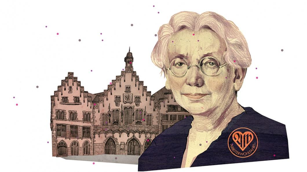Illustration von Meta Quarck-Hammerschlag aös erste Frau im Magistrat