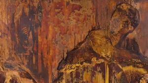 Nicola Samori, Mantide, 2017, Öl auf Kupfer