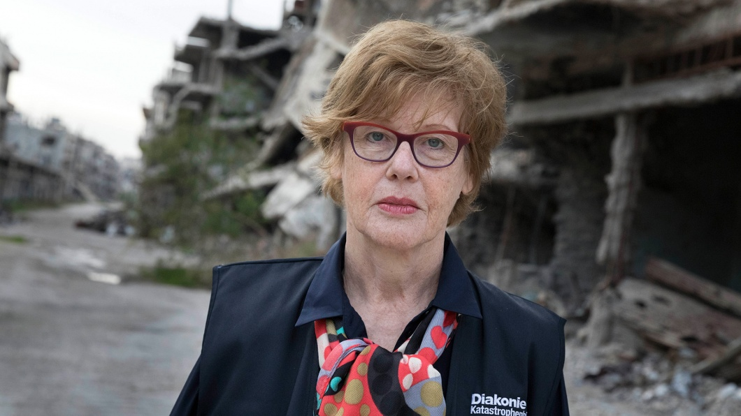 Frau Cornelia Füllkrug-Weitzel, Präsidentin der Diakonie Katastrophenhilfe, in Homs im Stadtteil Al-Hamdaniyah. Der Stadteil wurde während der Kämpfe weitgehend zerstört