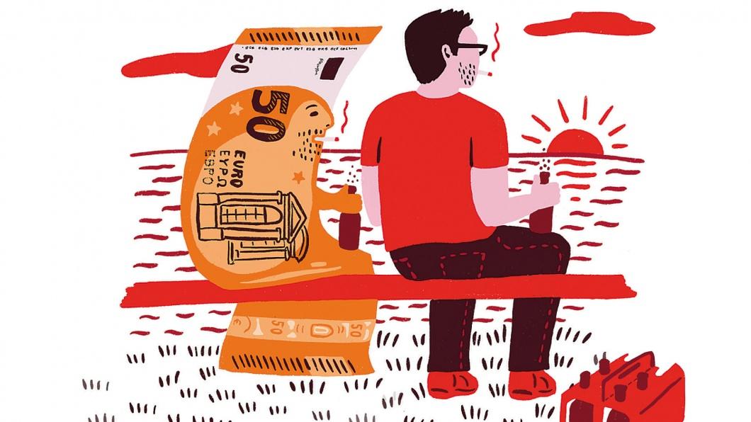 Doppelpunkt Illustration zum Thema 'Bezahlen mit Bargeld'