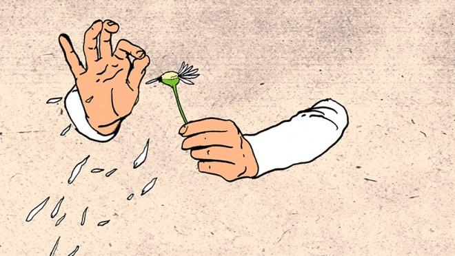 Hände zupfen Blätter einer Blume