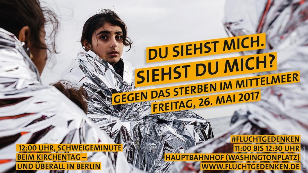 Plakatmotiv der Kampagne FluchtGedenken gegen das Sterben im Mittelmeer