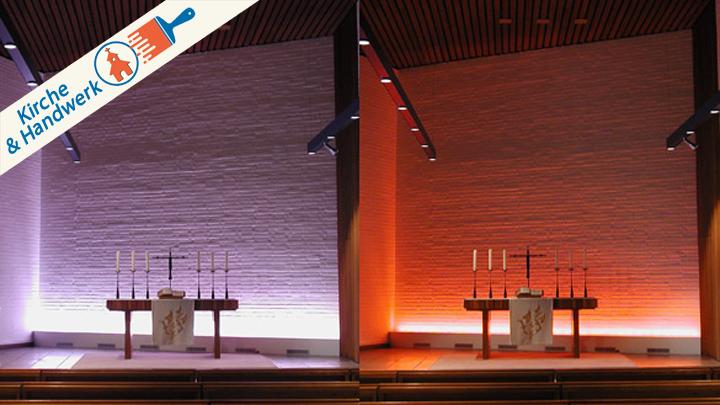 Keine leichte Aufgabe: Die passende Kirchenbeleuchtung, hier in der Petruskirche Berlin-Spandau