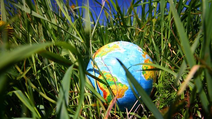 Ein kleiner Globus liegt im Gras.