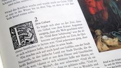 Der Anfang der biblischen Weihnachtsgeschichte im Lukasevangelium, Kapitel 2, nach einer Uebersetzung von Martin Luther, mit Bildern aus dem Zeitalter der Reformation
