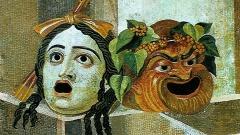 Theatermasken als Wasserspeier (Moasaik, Thermen des Decius, Rom, um 250)