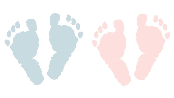 Rosa und Blaue Fußabdrücke