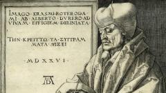 Der Gelehrte Erasmus von Rotterdam, Ausschnitt aus einem Kupferstich von Albrecht Dürer.