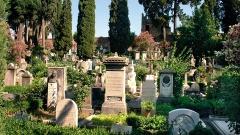 Das Gelände des protestantischen Friedhofs in Rom.