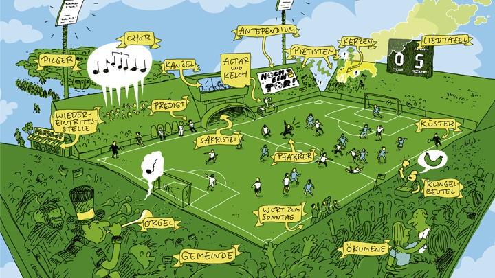 Der Illustrator Leo Leowald hat die Parallelen zwischen Religion und Fußball in einer Illustration für evangelisch.de verbildlicht. Das Poster gibt es zum download, nicht nur für Fußballfans.
