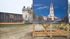 In Potsdam werben seit Oktober 2014 große Plakatwände für den Wiederaufbau der 1945 zerstörten und 1968 abgerissenen Garnisonkirche