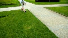Wegkreuzung auf einer Rasenfläche.