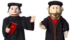 Martin Luther und Philipp Melanchthon Handpuppe