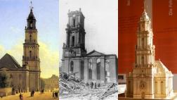 Modell der Garnisonskirche in einer Ausstellung am ehemaligen Standort in Potsdam am 26.10.2012. Bis zum 500. Reformationsjubiläum 2017 soll der Turm der Potsdamer Garnisonkirche wiedererrichtet werden.
