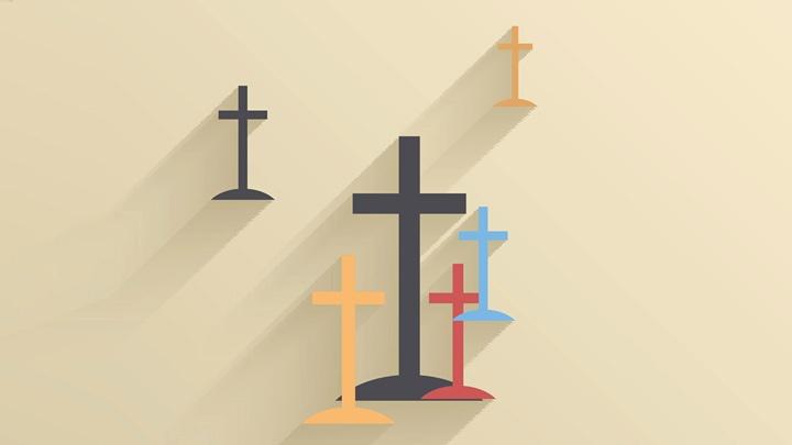 Kreuze an einer Wand