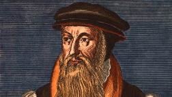 Der schottische Reformator John Knox, Kupferstich von ca. 1570 nach zeitgenössischem Bildnis; spätere Kolorierung.