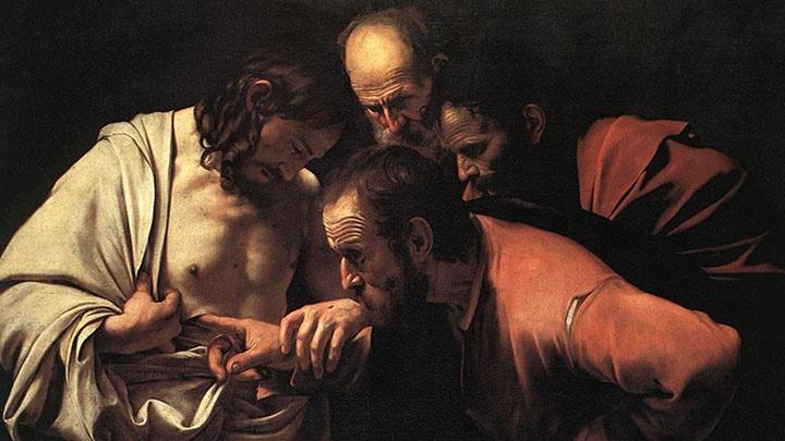 Ausschnitt aus einem Gemälde des Malers Caravaggio, das zeigt, wie der ungläubige Thomas Jesus einen Finger in eine Wunde legt.