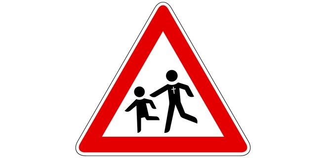 Gefahrenzeichen mit Piktogrammen eines Kindes und eines Pastoren