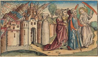 Lot flieht aus Sodom, Schedel'sche Weltchronik