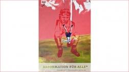 """Cover der Broschüre """"Reformation für Alle*"""", gestaltet von Asta und Susan Dittes. Das Titelbild """"Der verkehrte Junge"""" (2002) stammt von der Psychotherapeutin und Künstlerin Cornelia Kunert."""