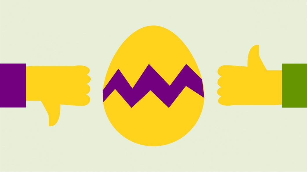 Symbole: Daumen runter, Osterei, Daumen hoch