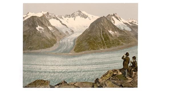 Der Aletschgletscher in den Alpen– um1900