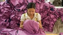 Näherin in einer Textilfabrik in Hung Yen in Vietnam.