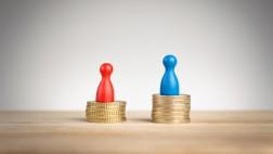 Symbolfoto Lohn- und Gehaltslücke zwischen Mann und Frau.