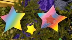 Bunte Sterne liegen auf Tannenzweigen.