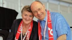 Nikolaus Schneider und seine Ehefrau Anne Schneider beim evangelischen Kirchentag in Stuttgart.