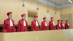 Der Erste Senat des Bundesverfassungsgerichts in Karlsruhe, Gabriele Britz, Andreas Paulus, Michael Eichberger, Johannes Masing, Ferdinand Kirchhof (Vorsitzender), Reinhard Gaier, Wilhelm Schluckebier und Susanne Baer (v-l.)