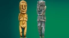 Weihfiguren der Inka-Kultur in Gestalt eines nackten Paares aus Gold und Silber