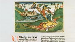 Der Holzschnitt aus der Koberger-Bibel von 1483 zeigt Jakobs Traum von der Himmelsleiter.