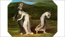 Naomi bedrängt Ruth und Orpa in das Land der Moabiter zurueckzukehren, Gemaelde von William Blake, 1795