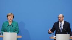 Bundeskanzlerin Angela Merkel und der SPD-Vorsitzende Martin Schulz