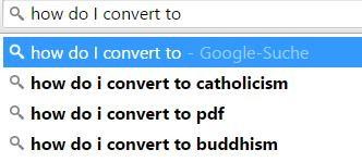 "Google ergänzt ""How do I convert to"" mit Catholicism, PDF, Buddhism"
