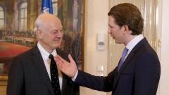 Österreichs Bundeskanzler Sebastian Kurz und Staffan de Mistura