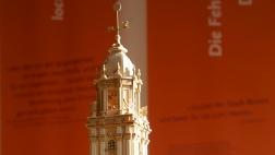 Modell der Garnisonskirche in einer Ausstellung am ehemaligen Standort in Potsdam.