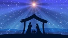 Stern von Bethlehem über Krippe
