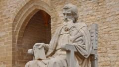 Denkmal Michael Servets vor der Kirche seines Geburtsortes Villanueva/Spanien.