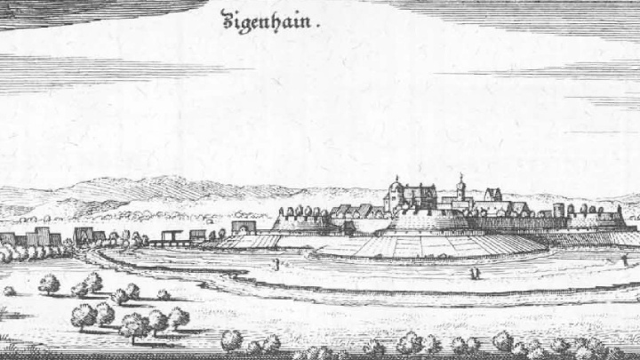Ansicht der Festung bzw. der Stadt Ziegenhain im Jahr 1655 Topographia Hassiae von Matthäus Merian 1655.