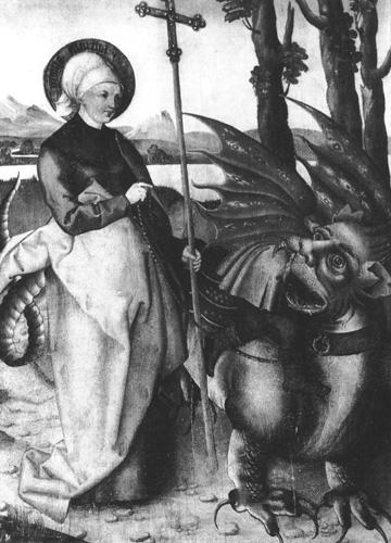 Martha zähmt den Drachen Tarasque, Martha-Altar in der St. Lorenz-Kirche in Nürnberg
