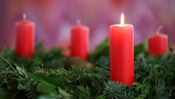 Geprüfte Kerzen auf dem Adventskranz.