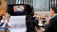 Der Chor der Kirchengemeinde Heilig-Kreuz-Kirche in Berlin während dem ZDF-Fernsehgottesdienst am 29.10.17