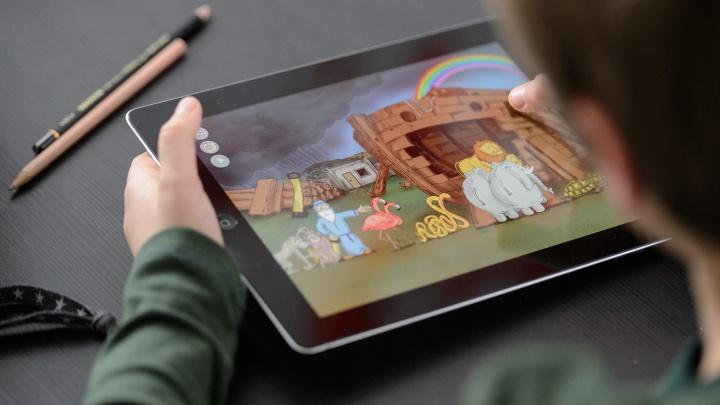 Tablet-Computer mit einer Spielbibel-App.