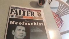 """Der """"Falter"""" (Nr 42/17) bildet Sebastian Kurz auf der Titelseite als """"Neofeschist"""" ab."""