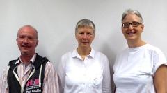 Vorstand des Regenbogenforums e.V. - christliche LSBTTIQ Gruppen in Deutschland: Juliane Kuske, Anette Delbrück, Paul Raschka (v.r.), nicht auf dem Bild: Manuela Sabozin-Oberem.